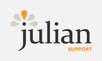 Julian in large, black lowercase font, Support in orange small uppercase font below, orange and beige flower graphic above J
