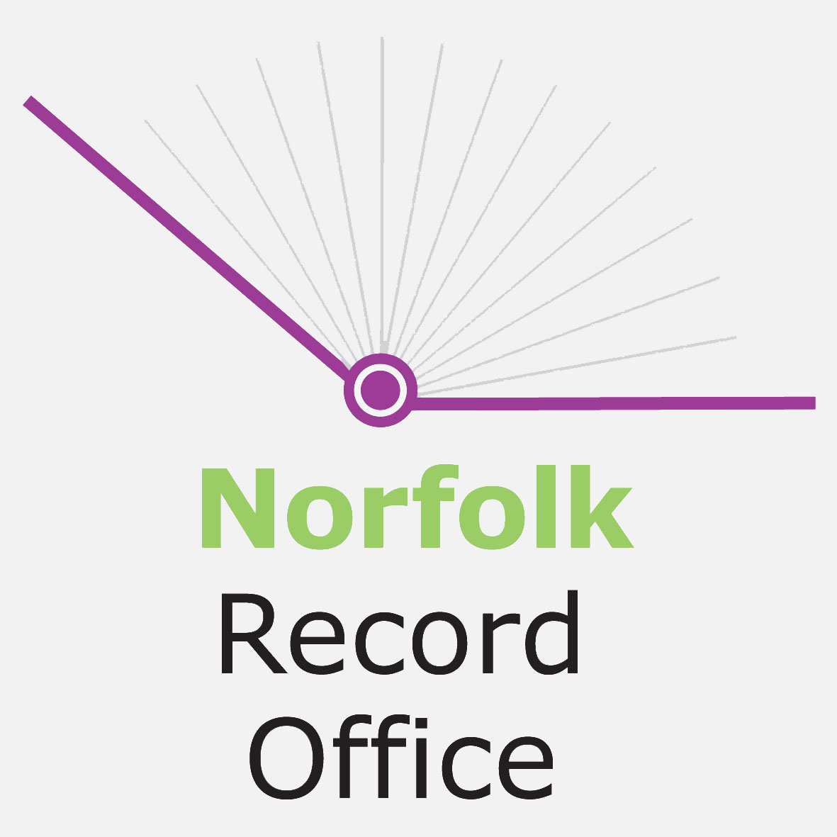 Norfolk Record Office, Norfolk text in bold green, purple open book graphic above text