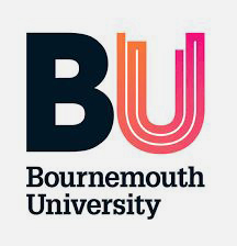 Bournemouth University in black text, bold BU graphic, pink and orange gradient in U