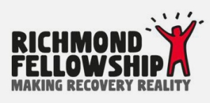 Richmond Fellowship in bold black text, Making Recovery Reality in bold grey text below, red graphic with black outline of a person with their arms in the air on right