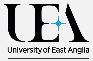 University of East Anglia black text, black UEA graphic above text, blue star in between E and A