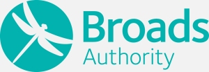 Broads Authority text in teal, teal graphic of dragonfly in a circle on left