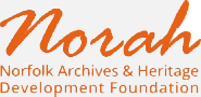 Norah orange graphic in italic text, Norfolk Archives and Heritage Development Foundation in orange text below