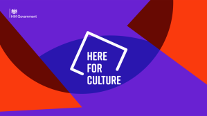 HM Government text in corner, Here For Culture uppercase as part of square graphic, purple and red overlapping geometric shapes in background