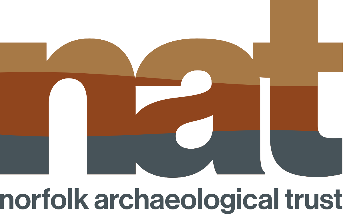 NAT lowercase graphic with yellow ochre, brown and grey stripes, Norfolk Archaeological Trust lowercase grey text underneath graphic