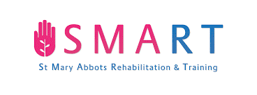 SMART in uppercase text, SMA in pink, RT in blue, St Mary Abbots Rehabilitation and Training in blue text below, pink hand graphic on left