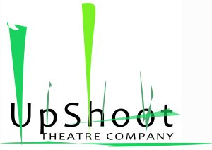 UpShoot Theatre Company in black text, green reeds graphic behind and above text