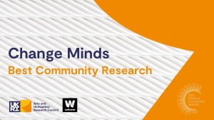 Change Minds text in navy, Best Community Research text in orange, orange shape in background